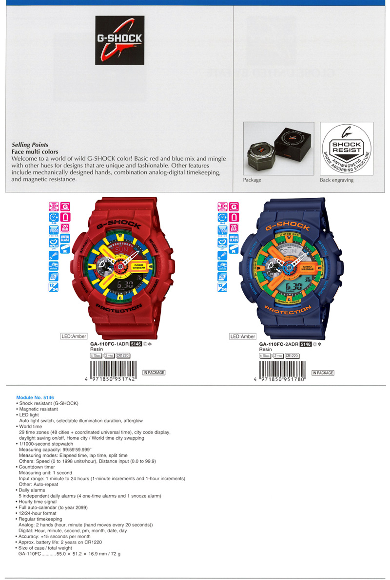Npr G Shock Ga 110fc Casio 1adr Face Multi Colors Mingle Mechanically Designed Hands Combination Analog