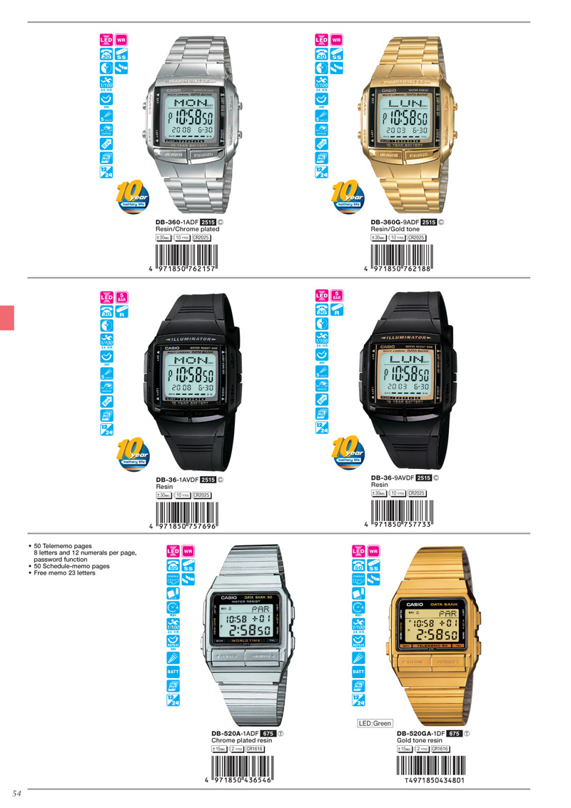Watch, Data Bank, DB-360-1A, DB-360G-9A, DB-36-1AV, DB-36-9AV, DB-520A-1A, DB-520GA-1